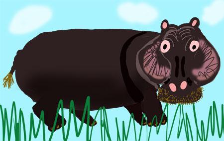 hippo-in-grass
