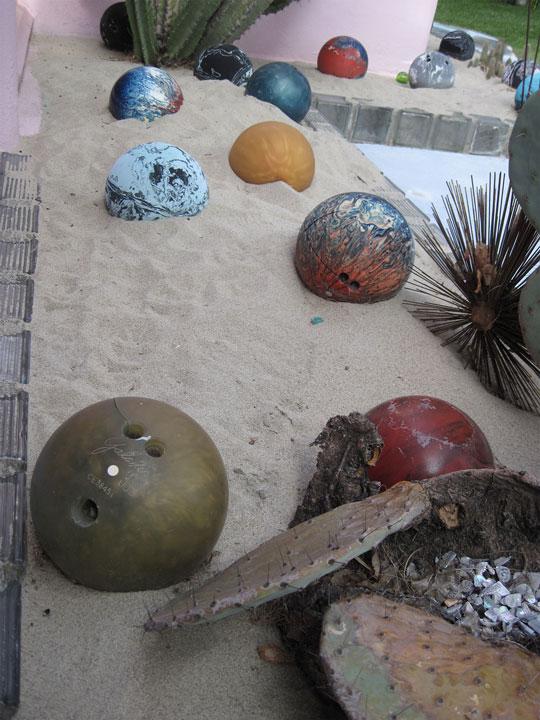 allee willis art architectural art bowling ball garden detail